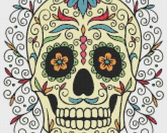 Sugar Skull Cross Stitch Pattern skull pattern needlepoint canvases - 165 x 188 stitches - INSTANT Download - B909