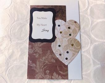 Heart Song Handmade Greeting Card//I Love You//Greeting Card//Stationary//Anniversary//Birthday//New Relationship//Valentine