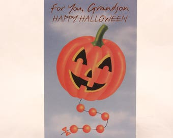New/Old Stock- Magic Moments-Halloween Card-Grandson