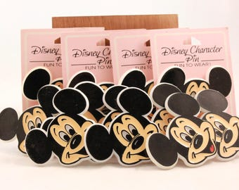 """Vintage Package of 24 Walt Disney """"Mickey Mouse Face"""" Plastic Pins."""