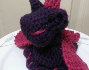 Baby Crochet Dragon in Purple and Pink