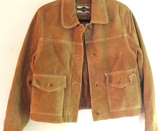 Vintage Leather Jacket / 1970s Womans Jacket / by Outbrook / Size Medium / Excellent  Condition