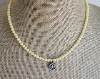 Yellow jade beads with pave cubic zirconia smiley face charm, summer jewelry, boho chic necklace, dainty necklace