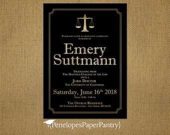 Law school graduation invitation Etsy