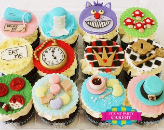Alice In Wonderland Cupcake Toppers - 1 Dozen
