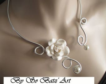 "Necklace + earrings ""IMMACULY"" flower and ivory foil glass beads"