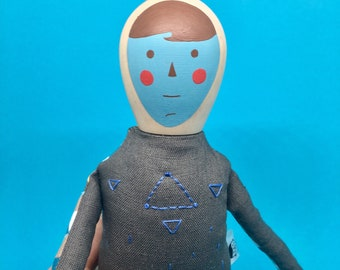 Wood and Fabric doll- Simple Guy