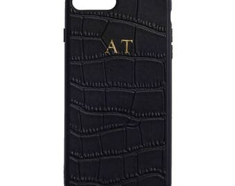 NEW PERSONALISED MONOGRAMMED iPhone 7 Plus Crocodile Leather Cover Case Black