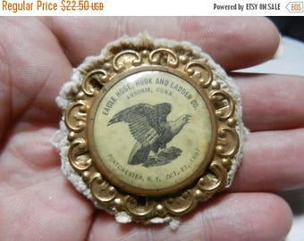 Summer Sale Vintage 1907 Eagle Hose Hook and Ladder Co Button Ansonia Conn
