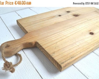 25% SALE Large Vintage French Wooden Kitchen Cutting Board Carving Chopping Chunky Pine Bread Board