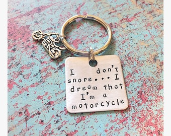 Motorcycle keychain fathers day gift gifts for dad biker gifts motorcycle gift funny dad funny guy gift snoring biker keychain gifts for him