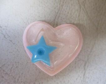 Pink heart with blue star,  needle minder, needlekeeper, magnet minder