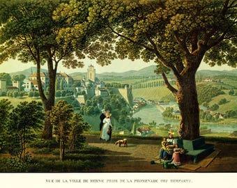 1930 Swiss Landscape. City of Bern. Reproduction Vintage. G Lory  (c.1830)