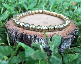 Gold Faceted Hematite Bracelet
