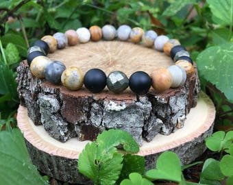 Men's Tucker Bracelet- Crazy Agate(8mm) - handmade- beaded bracelet-oliver grey jewelry- Denver collection-  guys accessories