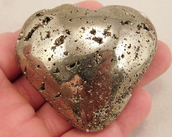 A PYRITE Crystal HEART with little Vugs full of Crystals! from Peru 224gr