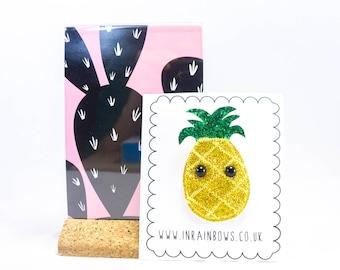 Kitsch pineapple,Glitter pineapple brooch, fruit brooch