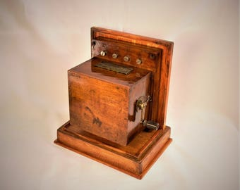 Beautiful Old French Hand Crank Phone Box.  GREAT GIFT !!!