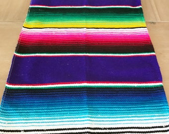 Mexican Serape table runner, bright colorful purple, Southwestern decor, tribal party decor, Fiesta decorations, striped rainbow LONG