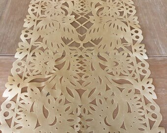 Papel picado table runner, TAN synthetic fabric, Mexican fiesta party decorations, party supplies, table topper, rustic wedding table runner