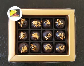 12 PC Handcraft Precious As Gold Flakes Leaf Chocolate Donut Cake Ball Gift or As a Topper Made to Order  -  Expedite Priority Shipping