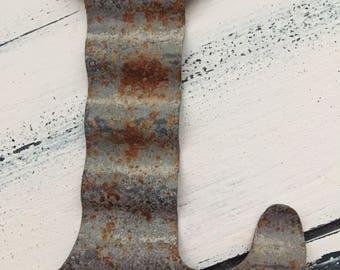 Rusty galvanized metal letter L, farmhouse, rustic, christmas, letter K ornament,letter B