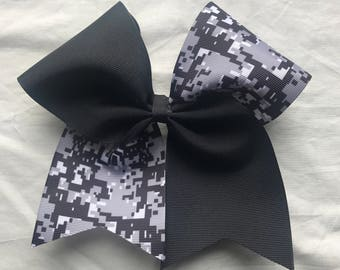 Camo Hairbows/Black, Gray and White Hairbows/Camo Cheer Bows/Camo Softball Bows
