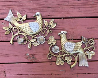 Vintage Ornate Gold Birds Wall Art 1966 Syroco Mid Century Modern Home Decor