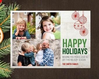 Rustic Photo Holiday Card   Photo Holiday Card   Holiday Card   Christmas Card   Christmas Photo Card   Printable Card   Printed Card