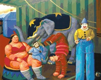 "botero Counted Cross Stitch botero Pattern circus cross stitch circus pattern clown needlepoint - 19.71"" x 17.14"" - L1329"