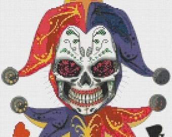 """jocker sugar skull Cross Stitch jocker sugar skull Pattern ponto cruz kreuzstitch embroidery - 9.71"""" x 12.36"""" - L1185"""