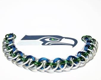 Seahawks Bracelet, Football Bracelet, Football Jewelry, Football Gift, Sports Jewelry, Team Jewelry, Fan Jewelry, Free Shipping in US