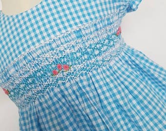 Beautiful blue checked hand smocked and embroidered baby dress - size 6-9 months