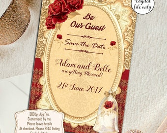 Digital Personalised Beauty and the Beast Save The Date Cards Wedding Invitations - Printable,Download,DIY,Fairytale