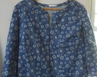 Blue and White Flower Tunic