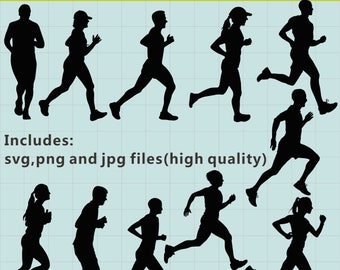 Running Silhouettes Clipart, Running Clipart, Sport Silhouette Clipart, Running Images, Running SVG, SVG Files, Instant Download
