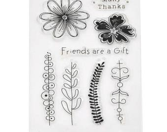Board of 8 stamps clear stamp flowers and stems