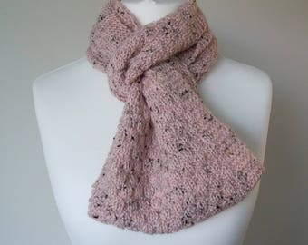 GetWoolly Warm and cosy pale pink mock cable knit infinity scarf, hand knitted