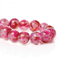 100 pink with spots fancy 8mm glass beads
