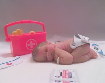 "Polymer Clay Babies ""Baby's First Shots at the Pediatrician's Office"" Great Gift For your Pediatric Office or Nurse, Intern, Gender Neutral"