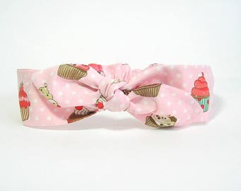 Pink headband with cupcakes by Tricotmuse
