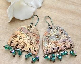 Rustic artisan earrings, Artisan copper jewelry, Dangle copper earrings, Crystal earrings Organic copper earrings Sterling silver hooks Gift
