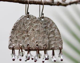 Rustic artisan earrings, Artisan copper jewelry, Dangle copper earrings, Crystal earrings Silver patina earrings Sterling silver hooks Gift