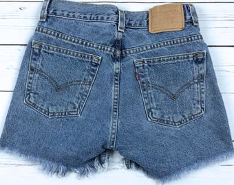 VTG 90s Levi's High Waisted Denim Cutoff Shorts Size 24/25
