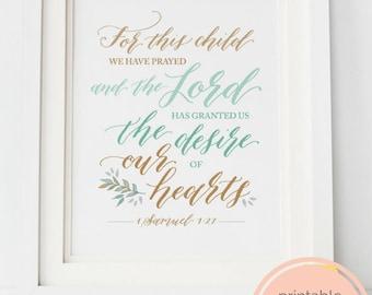 Nursery Bible Verse Printable Art- Adoption Gift, Baby Art Printable, For This Child We Have Prayed, Printable Baby Gift, Bible Verse Print