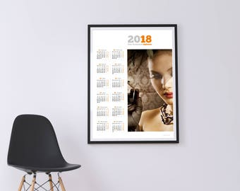 Yearly Wall Calendar 2018 Poster Template (KJP-W10) Size: A2, A1, A0. PDF file.