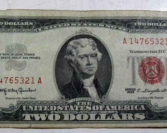 1963 red seal old two dollar bill (#E114k)
