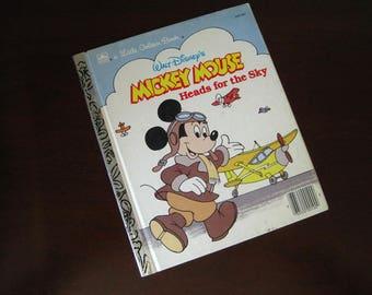 Walt Disney's Mickey Mouse Heads For The Sky - Vintage Children's Little Golden Book – 100-60