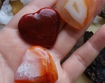 Carnelian hearts, crystal hearts, gemstone heart, Gemstone carving, Carnelian polished hearts