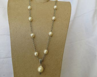 Freshwater pearl station necklace with matching earrings set